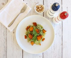 Tasty and filling, this Pumpkin Pesto Pasta dish is filled with healthy nutrients. Easy and quick to make.