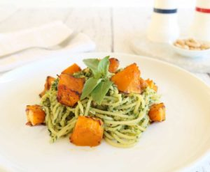 Tasty and filling, this Pumpkin Cashew Pesto Pasta dish is filled with healthy nutrients. Easy and quick to make.